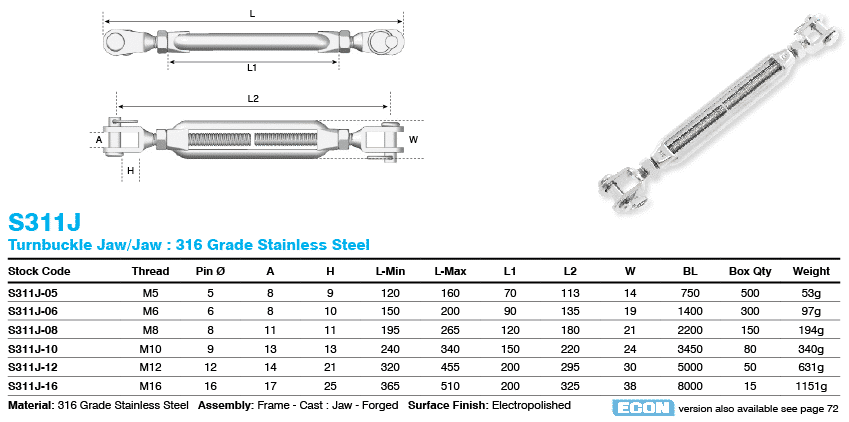 Turnbuckle Jaw Jaw 316 Grade Stainless Steel S311j