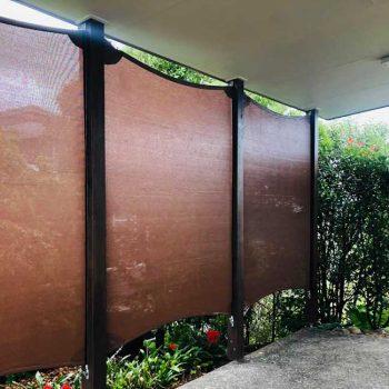 Privacy screen shade sails using sail track