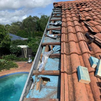 Reinforcing a tile roof facia for sail track installation