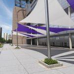 Purple and White Triangle Shade Sail design